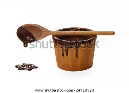 One chocolate wood pot and cup .