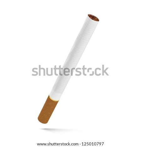 One cigarette isolated on a white background