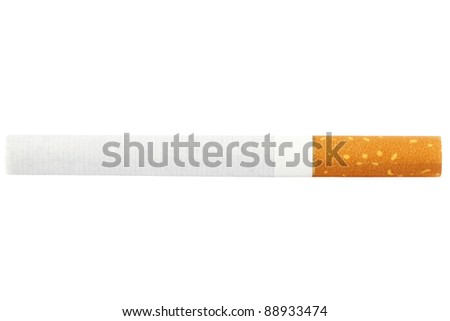 One Cigarette isolated on the white background