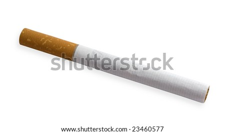 one cigarette on a white background