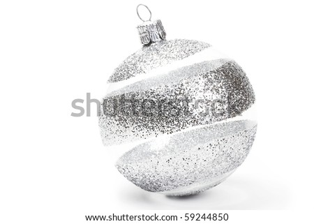 one clear with glitter striped christmas ball on white background