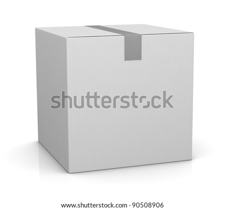 one closed carton box in white color (3d render)