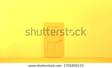 One closed. 3d render illusatration design. Yellow abstract art. Stay home stock photo