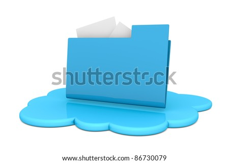one cloud with a computer folder over it (3d render)