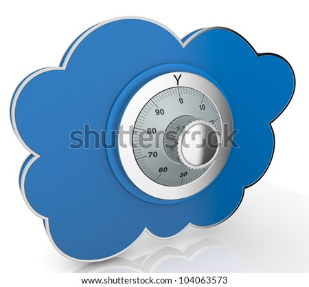 one cloud with a safe lock (3d render)