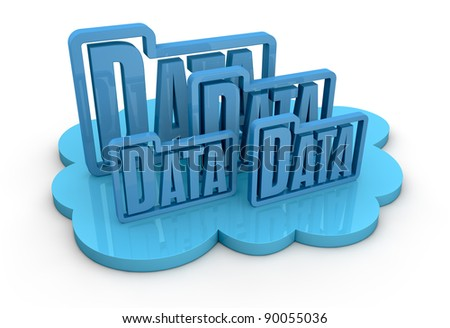 one cloud with some folder data icons on top, concept of remote data storage (3d render)