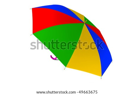One colored umbrella isolated on white background