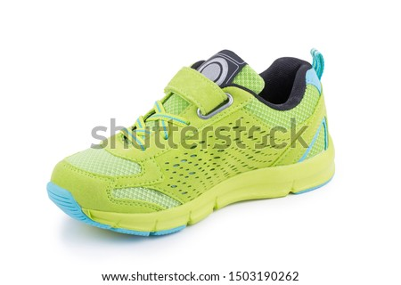 One colorful bright green toddler laced snickers shoe boot isolated #1503190262