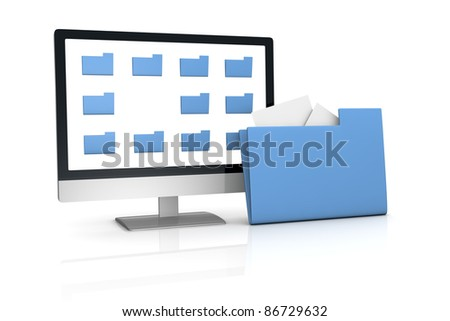 one computer desktop with some folder on the screen and a big one out of the screen, concept of searching and finding data (3d render)