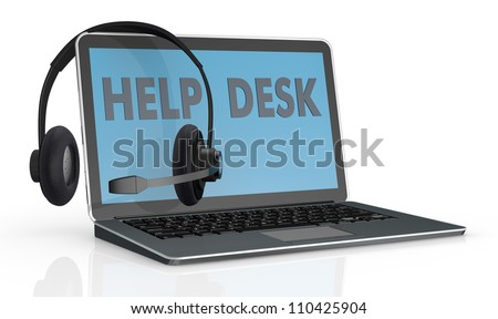 one computer notebook with the text help desk on the screen and headphones with mic over it (3d render)