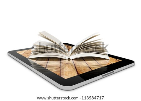 one computer tablet pc and book isolated on white background (render)