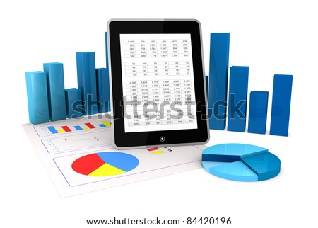 one computer tablet showing a spreadsheet and a paper with statistic charts, surrounded by some 3d charts (render) - stock photo