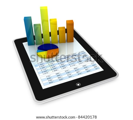 one computer tablet showing a spreadsheet with some 3d charts over it (render)