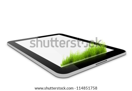 one computer tablet with grass on it over white background (render)