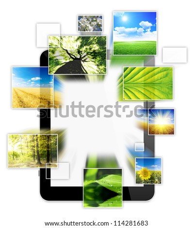 one computer tablet, with photo collage of nature, isolated on white background