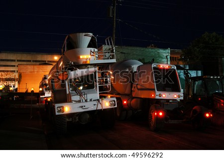 One Concrete Truck Coming, One Going, Nightime concrete pour of bottom floor of new Public Service Station in Downtown Roseburg OR