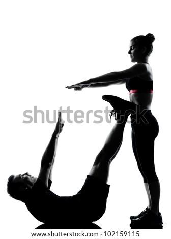 Fitness posture full length silhouette on studio isolated on white