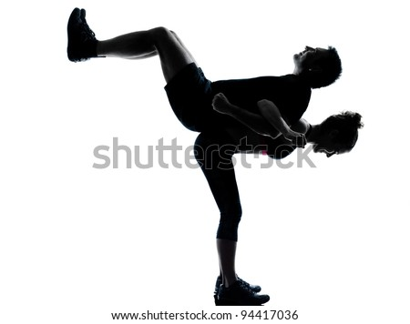 Aerobic fitness posture full length silhouette on studio isolated on