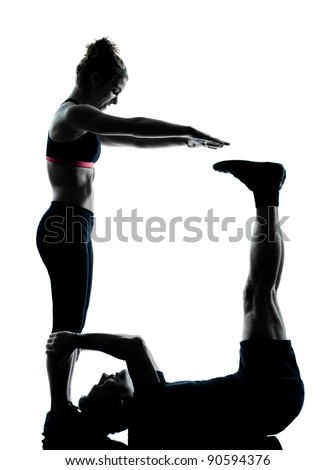 one couple man woman exercising workout aerobic fitness posture full length silouhette on studio isolated on white background