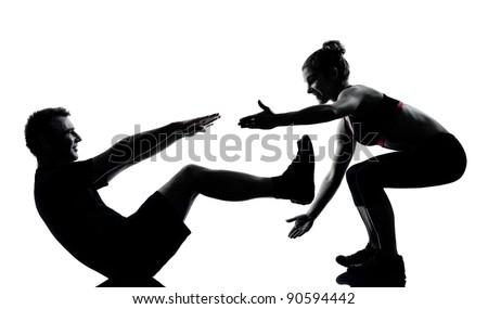 one couple man woman exercising workout aerobic fitness posture full length silouhette on studio isolated on white background - stock photo