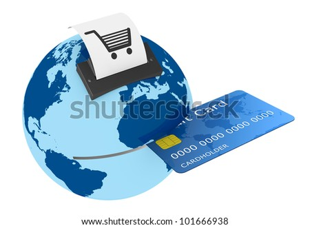 one credit card reader made with a world globe, concept of shopping everywhere (3d render)