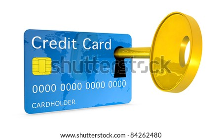 one credit card with a keyhole and a key, concept of protection and security (3d render)