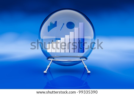 one crystal ball with a bar chart inside it, a concept of financial and business forecasts (3d render)