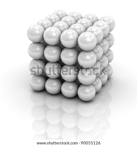 one cube formed by many spheres (3d render) - stock photo