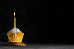 One cupcake in a paper cup with a yellow candle with flame on a dark background copy space birthday card