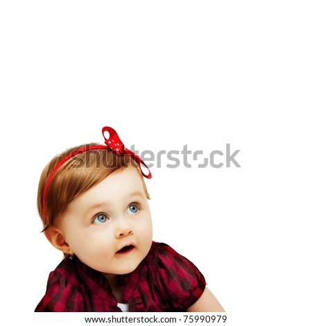 One cute baby girl isolated on white background