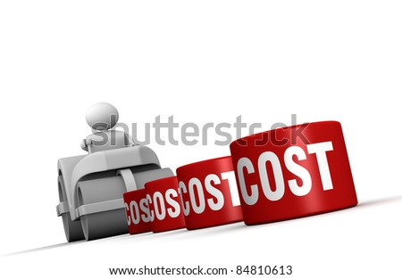 One 3d man with a steamroller crushing costs (3d render)