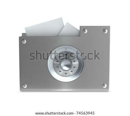 One 3d render of a computer folder designed to seem a safe. Concept of protection of digital data - stock photo