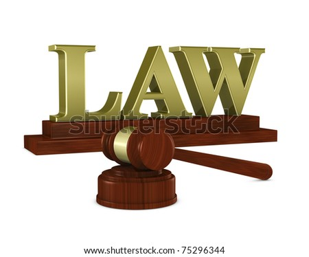 "one 3d render of a judge hammer and a nameplate with the word ""law"""