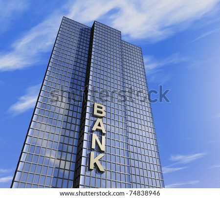 one 3d render of a skyscraper, headquarter of a bank