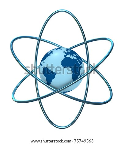 one 3d render of the atom symbol with a globe in the middle