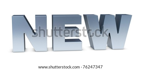 "one 3d render of the word ""NEW"" made with shiny metal"