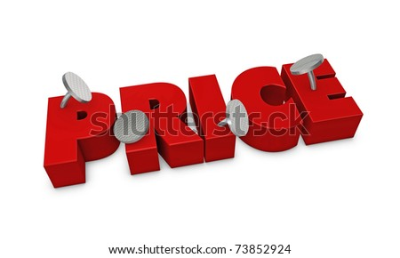 One 3d render of the word price fixed with four pins