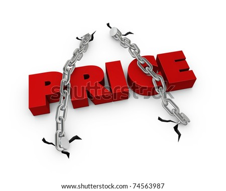 One 3d render of the word price fixed with two chains