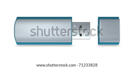 One 3d usb key with blank space for general purpose - stock photo