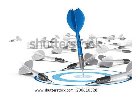 One dart hitting the center of a blue target many grey darts on the floor symbol of failure Concept illustration of strategic business or motivation