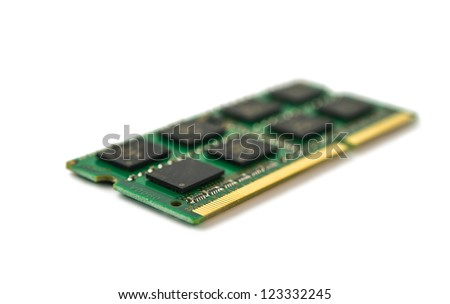 One DDR RAM stick isolated on white background