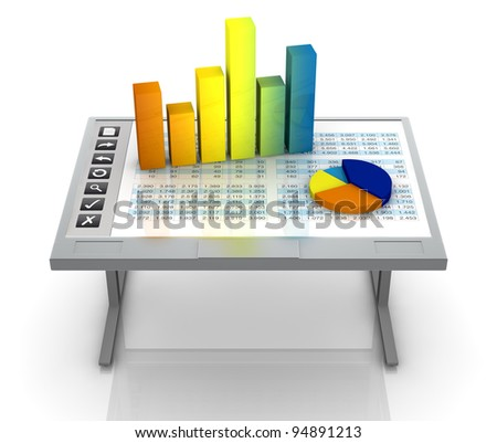 one desk with an interactive surface that shows a spreadsheet and charts (3d render)