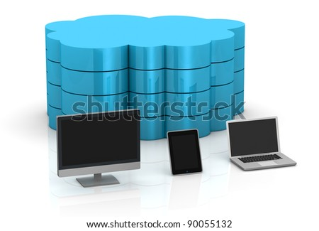 one desktop computer, tablet pc and notebook and a big cloud on background, concept of remote data storage (3d render)