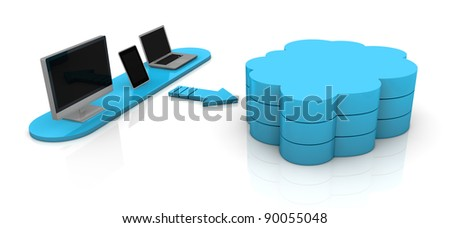 one desktop computer, tablet pc and notebook connected with a remote storage, concept of cloud computing (3d render)