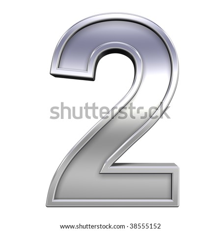 One digit from chrome with frame alphabet set, isolated on white. Computer generated 3D photo rendering.