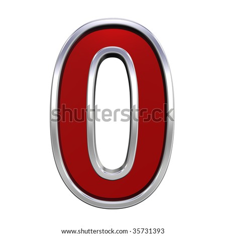 One digit from ruby with chrome frame alphabet set, isolated on white. Computer generated 3D photo rendering.