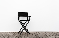 One Director Chair on wood floor and white wall