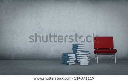 one dirty room with piles of books and a red chair (3d render)