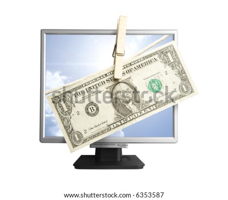 one dollar and computer monitor