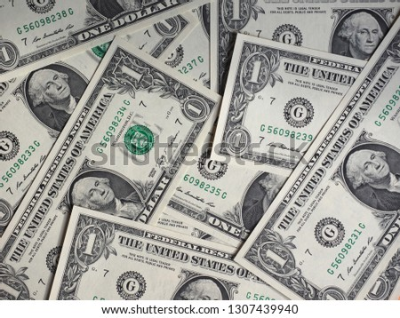 One Dollar banknotes money (USD), currency of United States